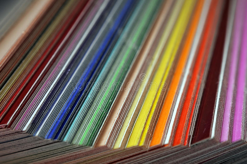 Color Swatches. These are plastic and transparent colors to place over your camera flash, but they look like normal color swatches royalty free stock photos