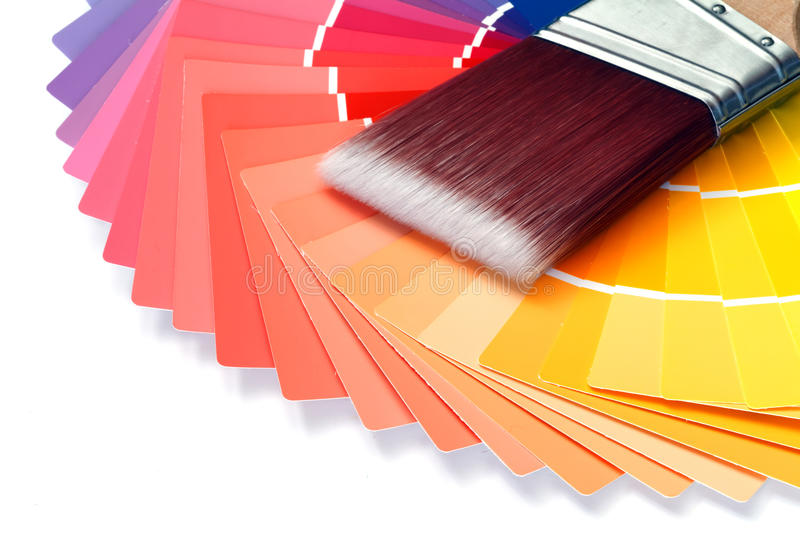 Color swatches. With paintbrush over white background stock images