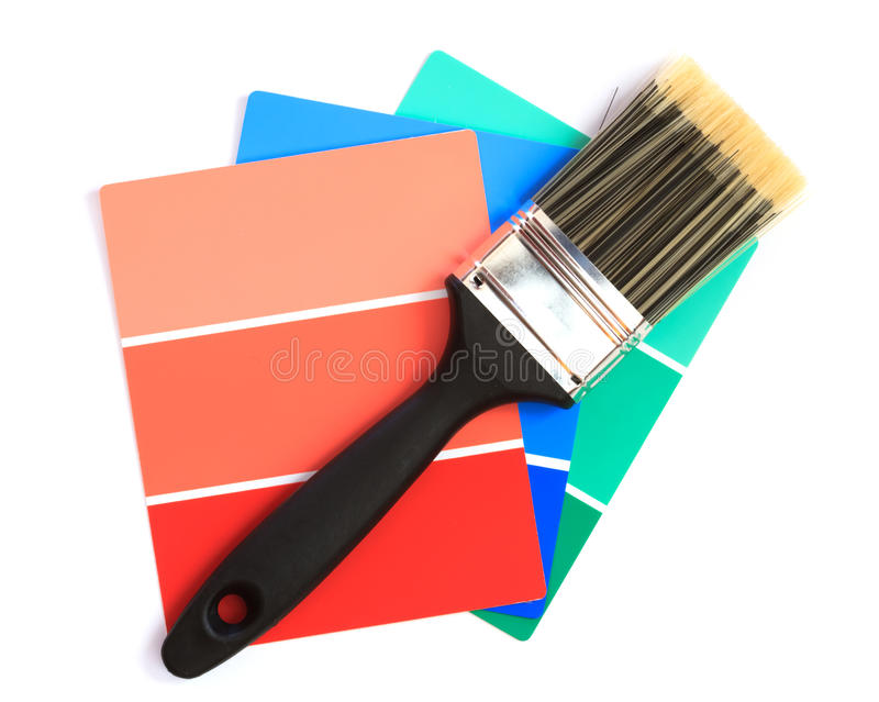 Color swatches. With paintbrush over white background stock photos