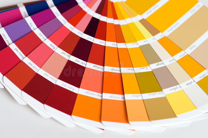 Color swatches. Abstract background of color swatches, coloring guides, close up royalty free stock photo