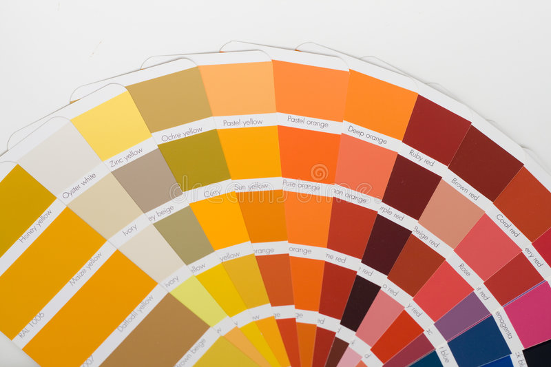 Color swatches. Abstract background of color swatches, coloring guides, close up royalty free stock images