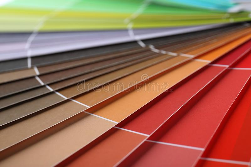 Color swatches book, closeup. Color swatches book, close up stock image