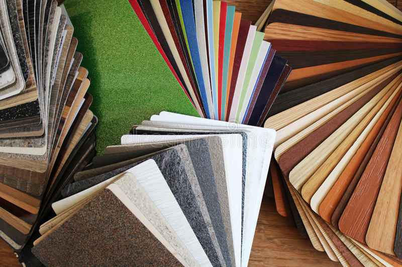 Color swatches. The color swatches chipboard, worktops and fronts stock images