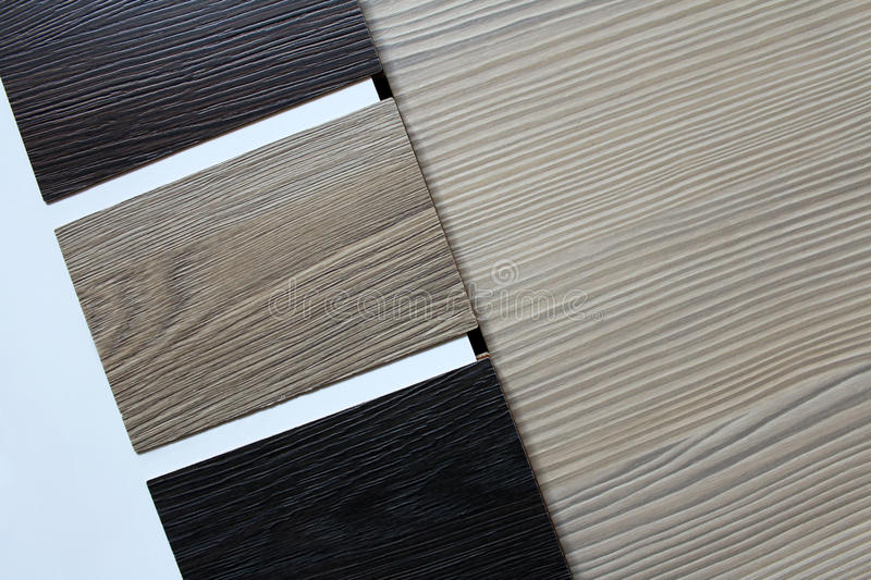 Color swatches of countertops. And particle Board royalty free stock image