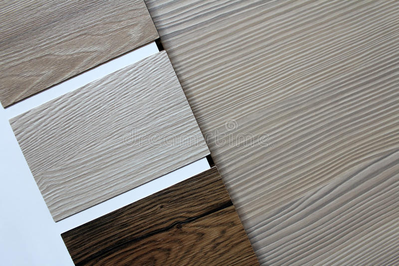 Color swatches of countertops. And particle Board stock photo