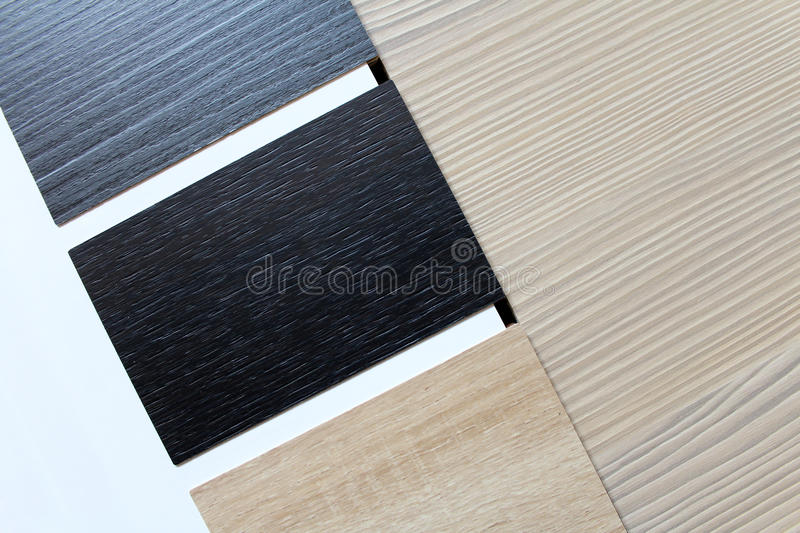 Color swatches of countertops. And particle Board royalty free stock photos