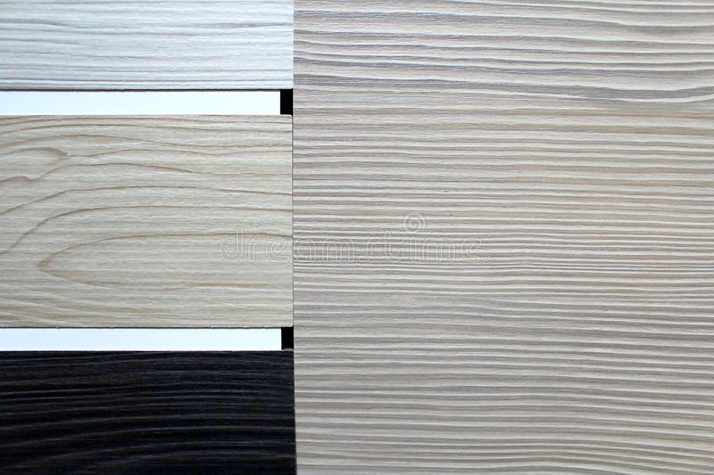Color swatches of countertops. And particle Board royalty free stock photo