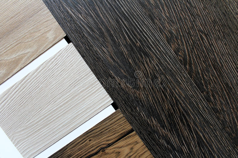 Color swatches of countertops. And particle Board stock image