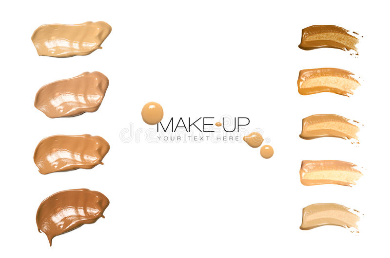 Color Swatches Foundation Makeup. Isolated on white with sample text royalty free stock image