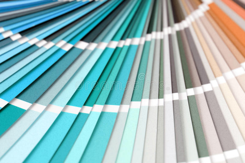 Color swatches full frame background to choice a color. Blue, orange, green,yellow stock photo