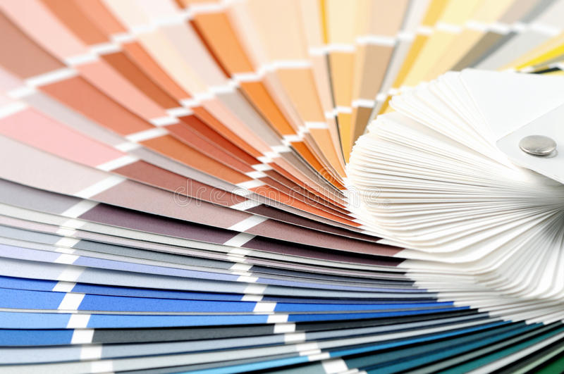 Color swatches full frame background to choice a color. Blue, orange, green,yellow stock photography