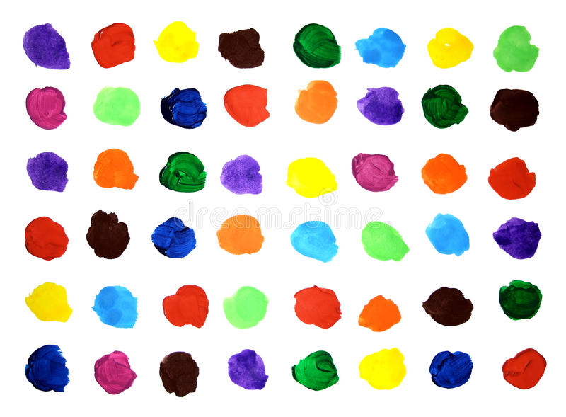 Color swatches on the paper sheet. Colorful artistic background from artistic paints on white sheet stock photography