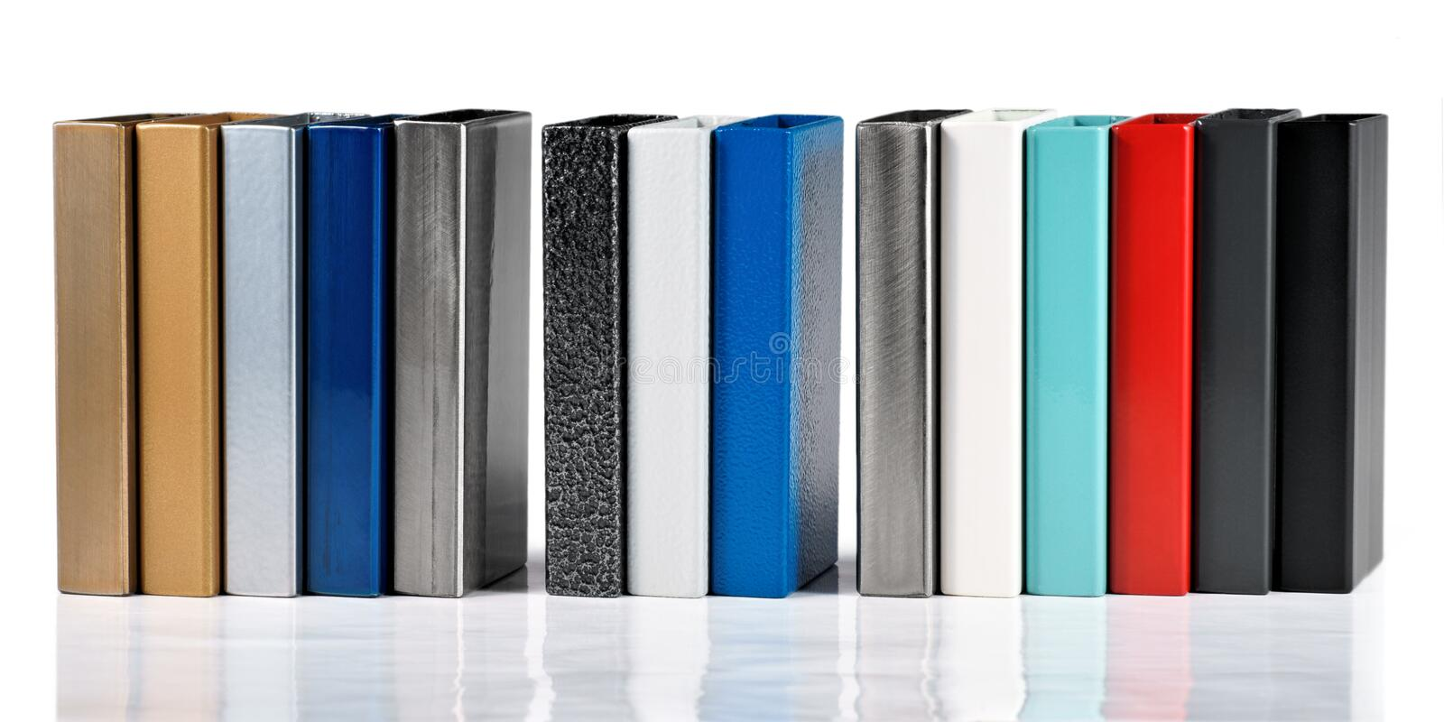 Color swatches powder coatings on metal profiles. On a white background royalty free stock images