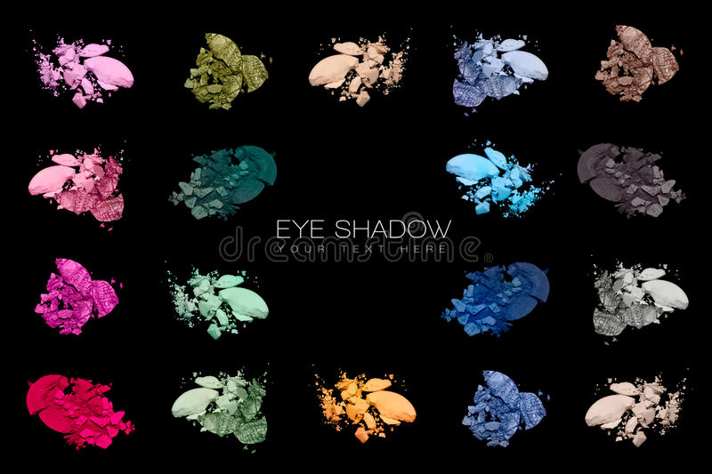 Color Swatches. Set of eye shadow. Set of eye shadow swatches isolated on black background. Cosmetics. Beauty concept stock image