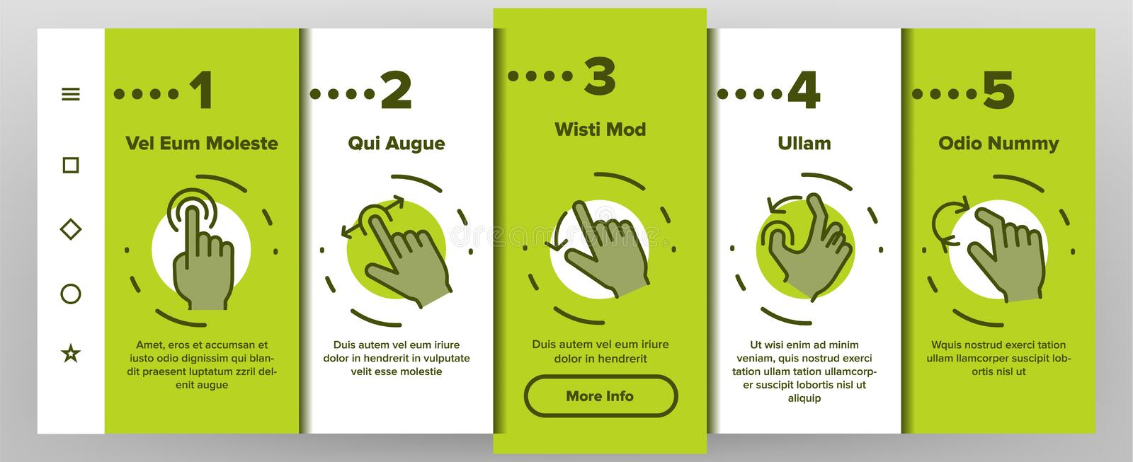 Color Swipe Gesture Touches Vector Onboarding vector illustration