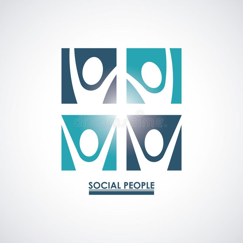Color teamwork social people with square set silhouette pictograms stock illustration