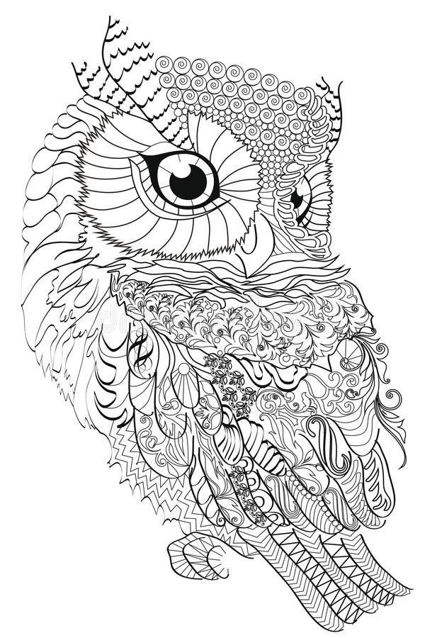 Color Therapy: An Anti-Stress Coloring Book . Owl. Stock Vector ...