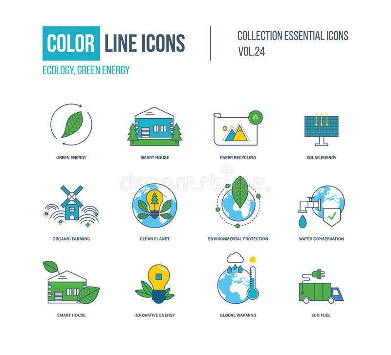 Color thin Line icons set. Ecology, green energy, smart house,. Recycling, solar energy, organic farmer, clean planet, environmental protection, water stock illustration