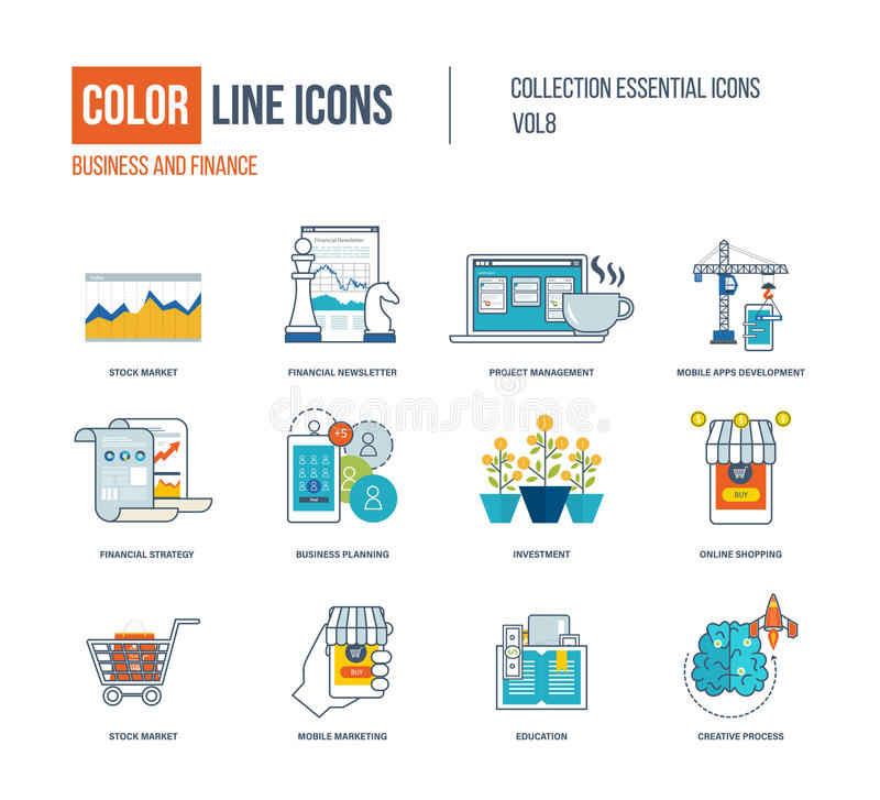 Color thin Line icons set. Stock market, financial newsletter, project management, mobile apps development, education, financial strategy, investment, mobile vector illustration