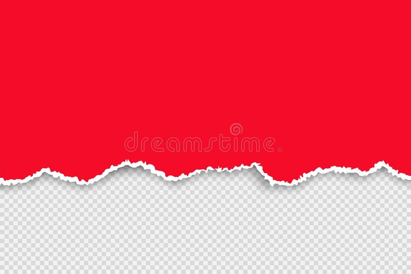 Color torn paper set. Ripped red paper with white ribbon sheet. Vector realistic illustration on transparent background royalty free illustration