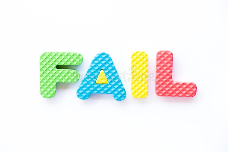 Color toy foam alphabet in word fail on white background royalty free illustration
