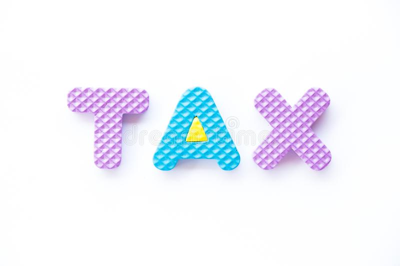 Color toy foam alphabet in word tax on white background vector illustration