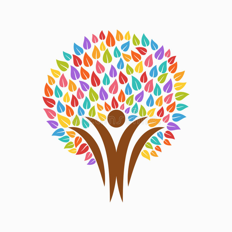 Color Tree People Symbol For Community Team Help Stock Vector