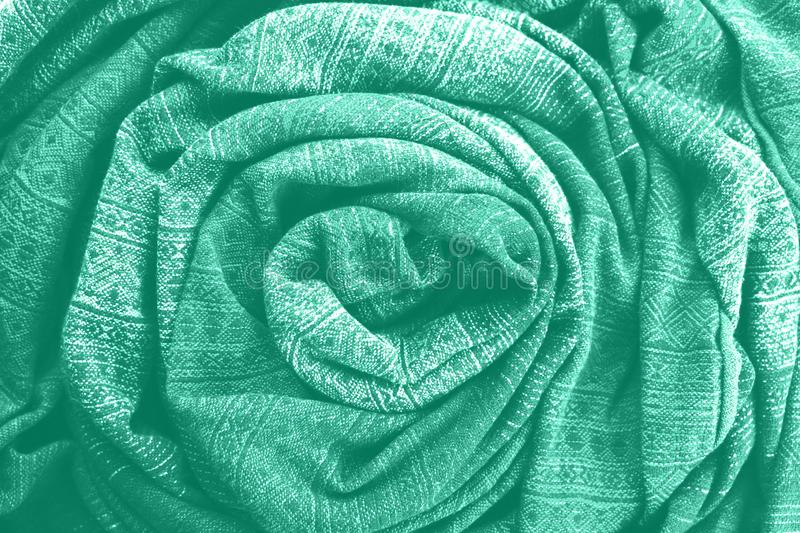 COLOR TREND 2020 mint. Abstract new mint color background. Seafoam Green fabric background. Green fabric texture. royalty free stock images