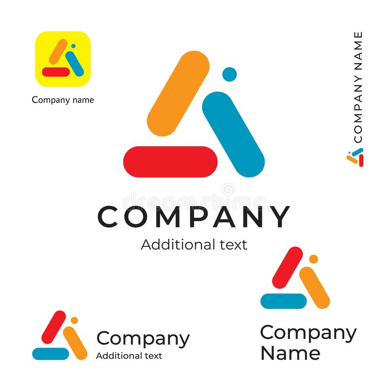 Color Triangle Abstract Logo Bright Colorful Modern Identity Brand