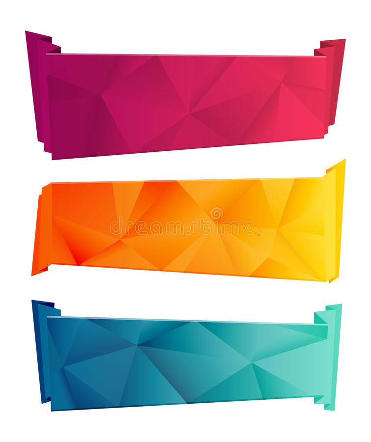 Color triangular ribbon and banner set. Ribbons from paper. Red, yelow, blue polygon Collection on white background stock illustration