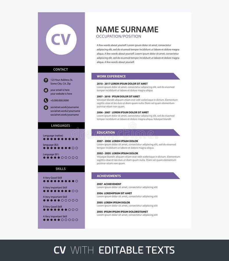 Color ultravioleta de la plantilla minimalista del CV - textos editable libre illustration