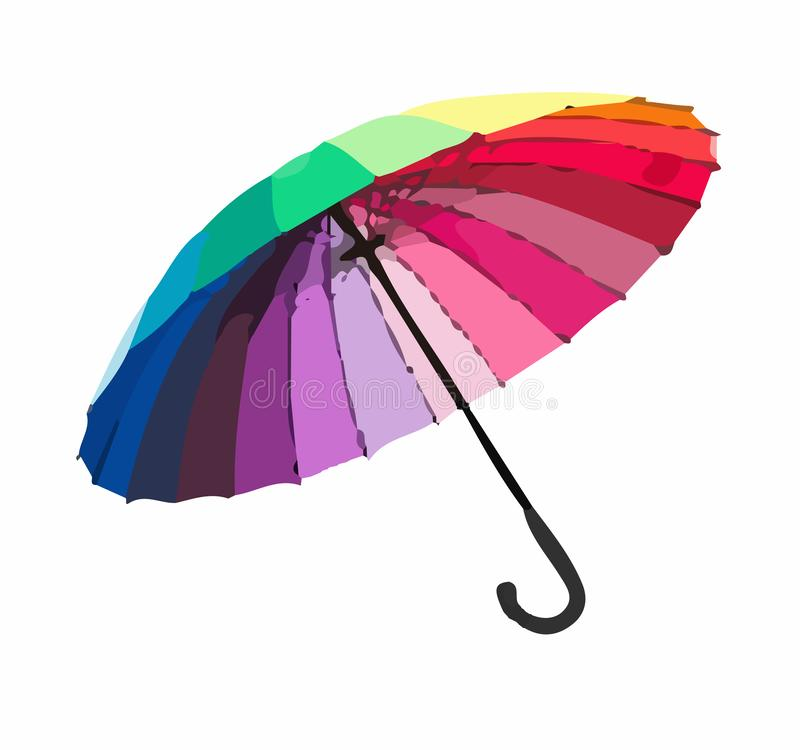 Color umbrella vector. Umbrellas and parasols are primarily hand-held portable devices sized for personal use. The largest hand-portable umbrellas are golf stock illustration