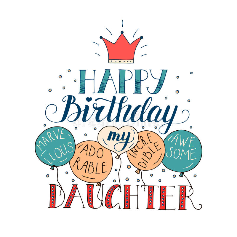 Color Vector Birthday Card For Daughter Stock Vector Illustration