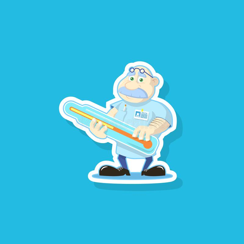 Vector flat art illustration of a cute cartoon doctor with thermometer vector illustration