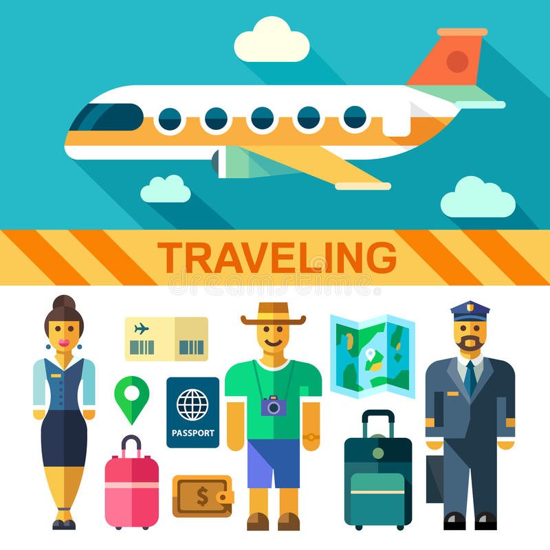 Color vector flat icon set and illustrations travel by plane stock illustration