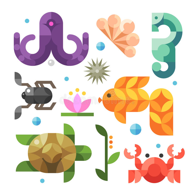 Color vector flat icons. Marine life from the sea royalty free illustration