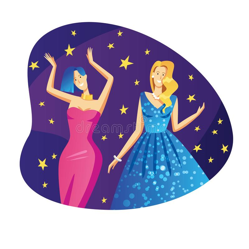 Color vector flat style illustration. Beautiful girls in evening dresses are dancing at a party. The girls at the event have fun. stock illustration