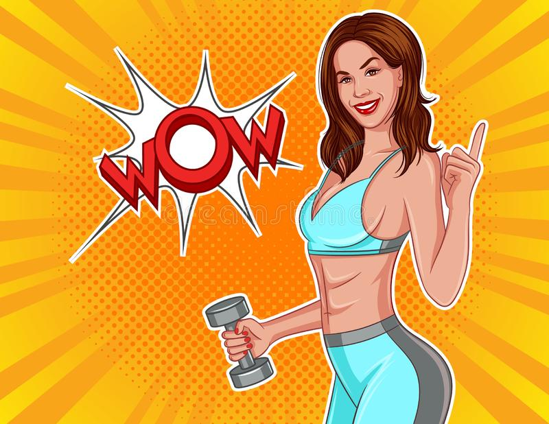 Color vector illustration in comic pop art style. Athletic girl with dumbbells in their hands. stock illustration