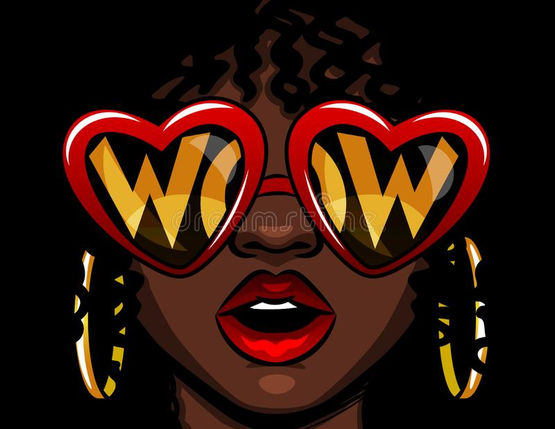 Color vector illustration in comic style. Female face in glasses with the inscription wow. Afro american woman in shock. The girl stock illustration