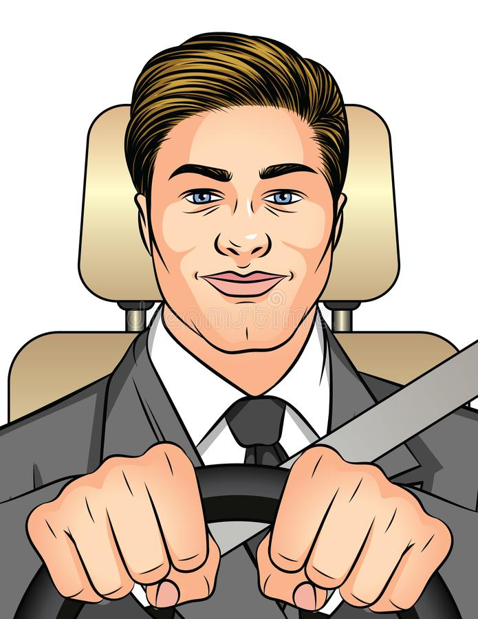 Color vector illustration man driving a car. Businessman traveling to work in the car. A happy man inside the car is wearing a sea. T belt. Man holds hands on vector illustration