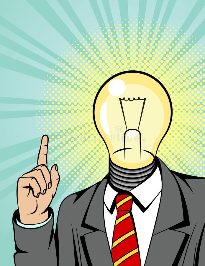 Color vector illustration of a man in a suit with a light bulb instead of a head. Businessman points finger up. Concept poster abo stock illustration