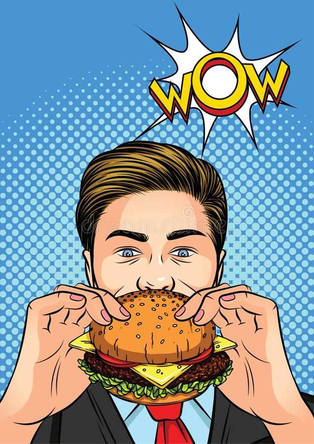 Color vector illustration of a pop art man eating a burger. vector illustration