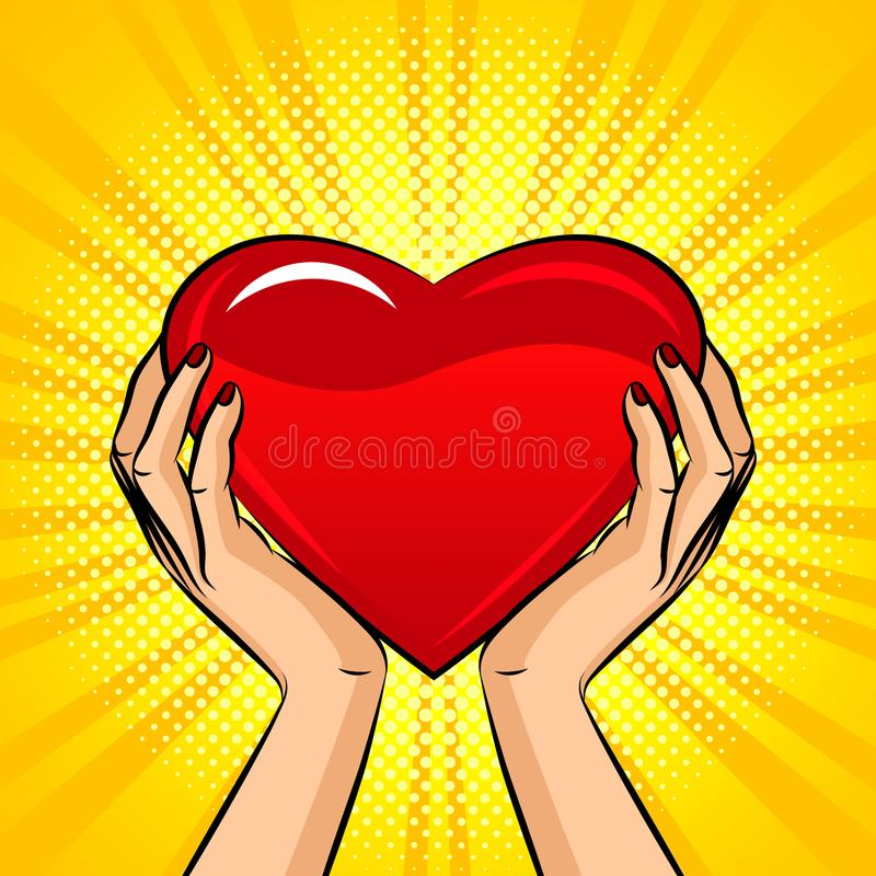 Color vector illustration in pop art style. Female hands hold a big heart. Design for postcard on Valentine`s day. Big red lumino royalty free illustration