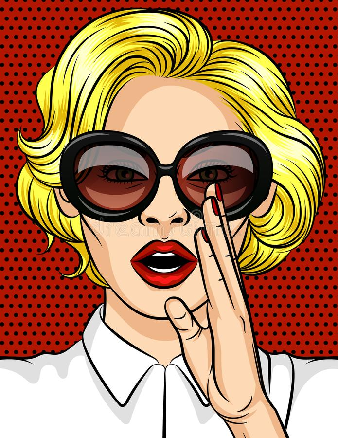 Color vector illustration in pop art style. The girl the blonde in dark glasses tells a secret. A beautiful lady with red lips hol stock illustration
