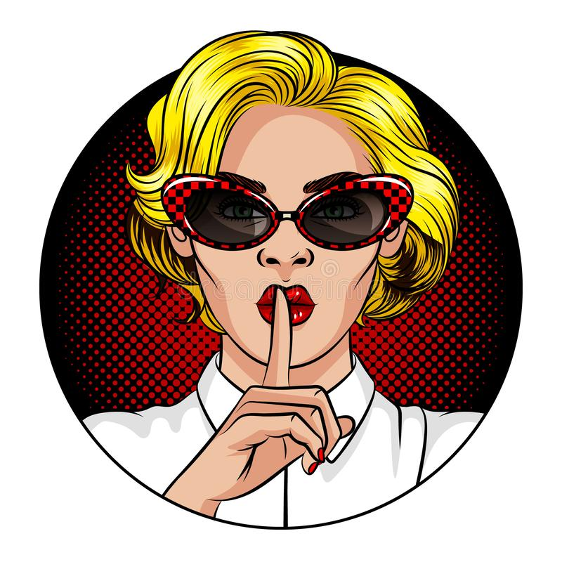 Color vector illustration in the style of comic pop art. A girl with blond hair and red lips. The girl holds the index finger at t royalty free illustration