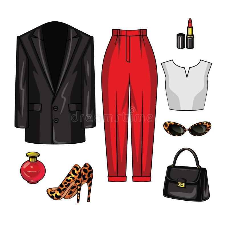 Color vector illustration of women`s evening wardrobe items. royalty free illustration