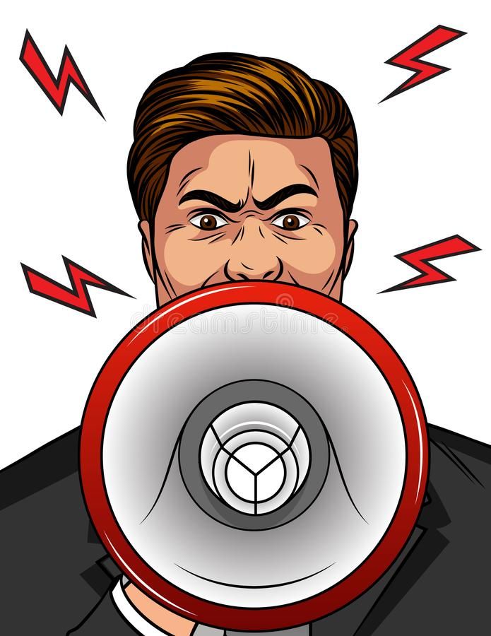 Color vector pop art comic style illustration of an angry man with a loudspeaker in his hand. An aggressive man shouts in a megaph stock illustration
