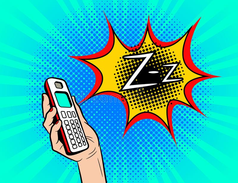 Color vector pop art comic style illustration of a phone ringing. Female hand with the handset of the old model. Sign of the ringi stock illustration