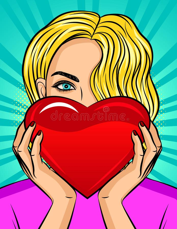 Color vector pop art style illustration of a girl holding a heart in her hands. Beautiful blonde with blue eyes holds a red heart. royalty free illustration