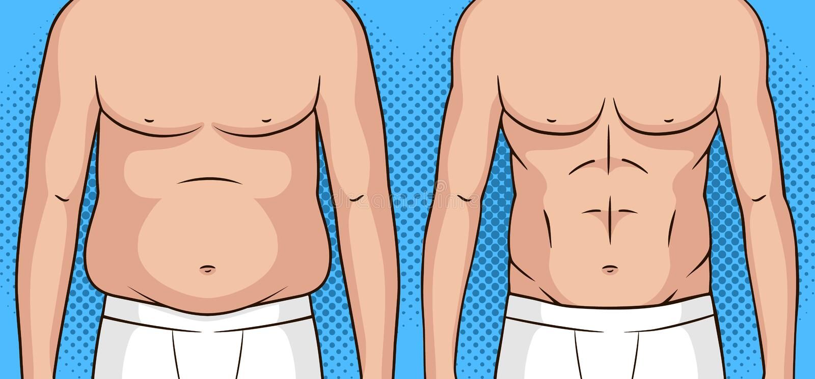 Color vector pop art style illustration of a man before and after weight loss. Flat stomach against the fat belly. Poster about healthy eating and lifestyle stock illustration